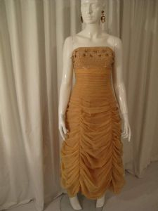 1950's Pale caramel coloured ruched starlet gown Vintage Polmarks Model